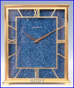EXC COND Jaeger LeCoultre Brass Gilt Lapis Lazuli Mantel Bracket Clock