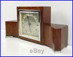 Elliott Art Deco Burl Walnut Mantle Clock