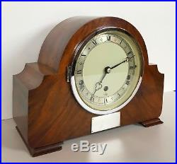 Elliott Art Deco Walnut Quarter Chiming Mantle Clock