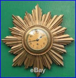 English Art-deco 8 Day Gold Gilt Sunburst Wall Clock