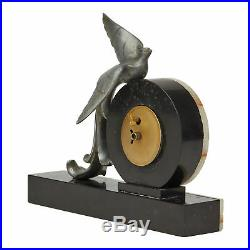 FRENCH ART DECO ONYX & PHEASANT MOUNTED MANTEL CLOCK c. 1930