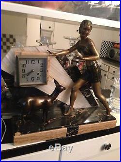 Fabulous Art Deco Clock Spelter Onyx Marble