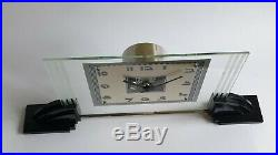 Fabulous French Art Deco Modernist Large ATO clock glass Bakelite chrome