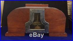 Fabulous High Art Deco wood case time only mantle clock Walnut / chrome