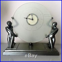 Frankart Rare Round Art Deco Metal And Glass Clock