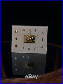 Frankel Art Deco Glass Clock 1930s White and Brass Rare. Reconditioned. Works
