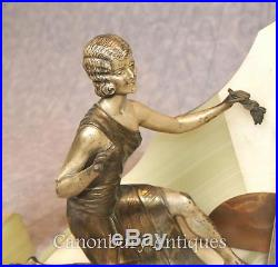 French Antique Art Deco Mantle Clock Set Spelter Figurine 1920s Marble Urns