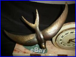 French Art Deco Marble And Spelter Clock With Swallow Signed Tedd