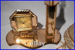 French Art Deco Peach Mirror Clock Lamp Tray Set, Ex Con Bedroom Boudoir Wow