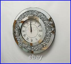 Gatsby Modern Diamante Crush Crystal Mirror Glass Round Wall Clock 35cm Silver