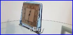 Genuine Art Deco Blue Glass & Chrome Smiths Electric Mantel Clock 1930s Working