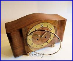 German Kienzle c1930 ART DECO Mantel Clock with Brass accents Mirrored Burl Teak