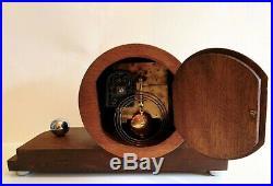German Mauthe c1925 ART DECO unusual Mantel Shelf Clock with Chrome accents