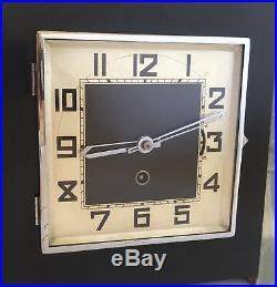Gorgeous Art Deco Green, Honey & Black Onyx Mantle Clock with matching Garnitures