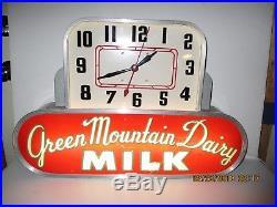 Green Mountain Dairy Art Deco Clock Lighted Sign. Rare Lamar Colorado