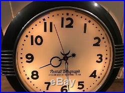 HAMMOND POSTAL TELEGRAPH CLOCK LIGHTED ART DECO CHROME MID CENTURY 20 Round