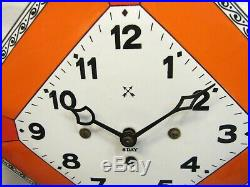 Hamburg American Clock Co Enamel Porcelain Face Kitchen Art Deco Wall German