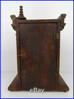 JUNGHANS Antique German STUNNING Mantel Shelf CASTLE 8 day 1800s Clock Art Deco
