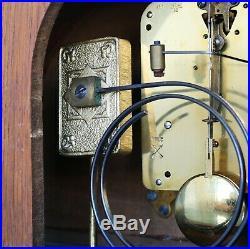 JUNGHANS CLOCK Mantel PFEILKREUZ Antique Chime Art Deco Chrome! Features Germany