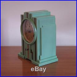 Jade Green Telechron Electrolarm Model 700 Art Deco Skyscraper Clock