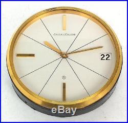 Jaeger Le Coultre Art Deco Desk Table Clock With Date Chrome Clock Circa 1930
