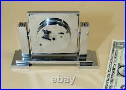 John Bagshaw & Sons Liverpool Antique vtg Art Deco Moderne CHROME Desk CLOCK