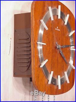 Junghans Retro vintage wooden Design brass pendulum antique wall clock Art Deco