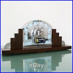 KIENZLE Mantel Clock Vintage Art Deco SKYSCRAPER SOLID SILVER Dial CHROME German