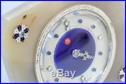 LACLOCHE Art Deco Diamond Sapphire Agate Coral Silver and Enamel Desk Clock