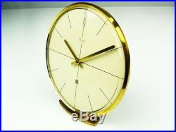 LATER ART DECO BAUHAUS BRASS ELECTRIC DESK CLOCK KIENZLE GERMANY with DATE