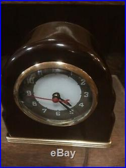 Lackner Neon Glo Art Deco DULCY Marbled Brown Catalin Glass Brass Bakelite Clock
