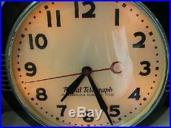 Large Hammond Art Deco Postal Telegraph Lighted Wall Clock