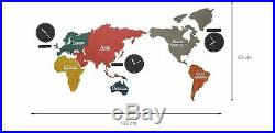 Large World Map Wall Clock Wooden DIY Sticker Puzzle Decor Interior Gift EcoMix