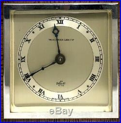 Lovely Elliott London Mantel Clock Silvered Dial Oak Art Deco Style Clock