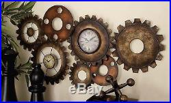 METAL GEARS WALL CLOCK MODERN ART DECO STEAMPUNK VINTAGE RETRO AGED Home Decor