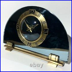 Magnificent Art Deco Smiths Sectric Mirrored Glass & Brass Vintage Mantle Clock