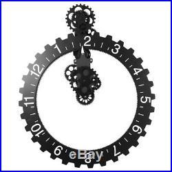 Mechanical Gear 3D Wall Clock Quartz Movement Month/Date/Hour Wheel Clock