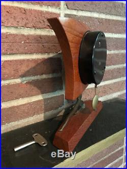 Mid Century Modern Art Deco Luhowa German Pendulum Mantel Clock Teak & Metal