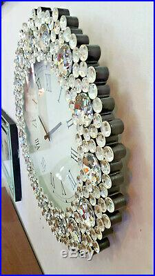 Modern Round Mirror Wall Clock Art Deco Bling Diamond Crystal Frame 53cm Silver