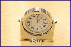 Must de CARTIER Art Deco Style Two Tone Swivel Sapphire SWISS Desk Mantel Clock