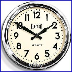 Newgate Giant Electric Station Wall Clock Chrome Modern Vintage Classic Art Deco