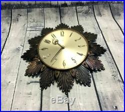 Original 1960s Vintage Metamec Starburst Wall Clock Art Deco Homeware Retro