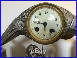 PENDULE HORLOGE ART DECO SIGNEE LIMOUSIN 1925 ARGENTÉE FRENCH CLOCK Cadeau Noël
