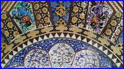 Persian Handmade Wooden Inlaid Khatam Marquetry Mina Kari Enameled Wall Clock