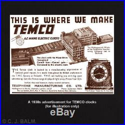 Quality 1930s English Art Deco TEMCO Electric Matel Clock. VGC. Working 220-250v