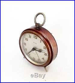 RARE 1930s Tiny Antique German KIENZLE Tam-tam Alarm clock, art deco copper