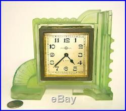 RARE AMAZING Old ART DECO SEIKOSHA Japan VASELINE Glass Frosted Desk Table Clock