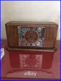 Rare Beautiful Art Deco Junghans Chiming Mantel Clock With Pendulum 1939