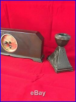 RARE Lux Mantle Clock With Candlesticks Griffin Art Deco Gothic Original Clock