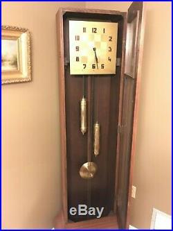 Rare 1930's Art Deco German Zentra Mission Oak Corner Grandfather Clock